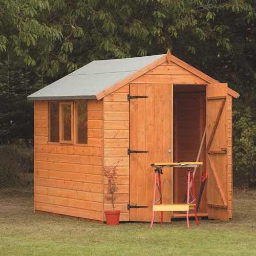 Larchlap 8 x 6 shiplap apex heavy duty shed for Garden shed 8 x 6