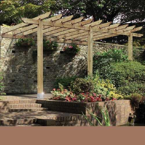 attached pergola to ranch style home