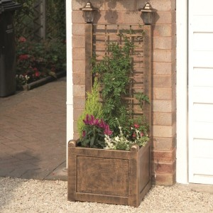 Antique Bronze Trellis Planter with Solar Lanterns