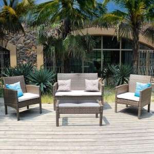 4 Piece Rattan Sofa Set