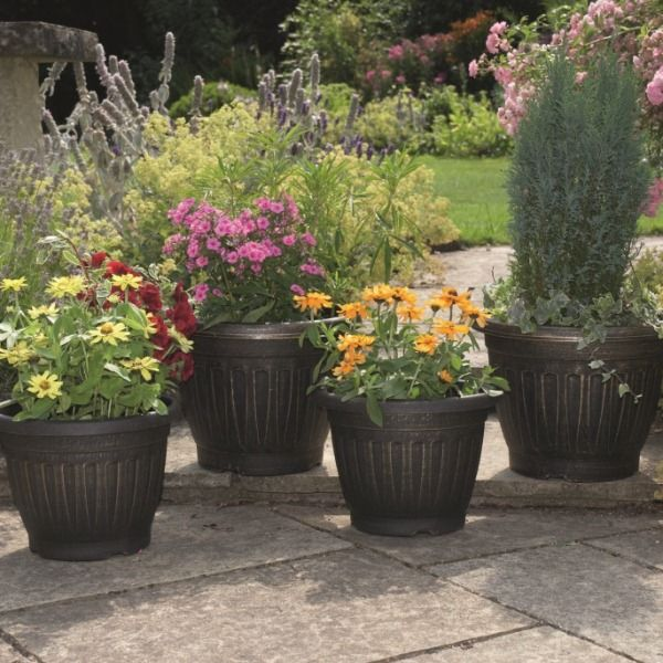 Georgian Style Black/Antique Gold Planters (pack of 4)
