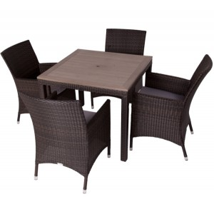 Alonso 4 Seat Square Rattan Dining Set