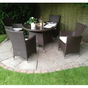 Cannes 4 Seat Rattan Round Dining Set