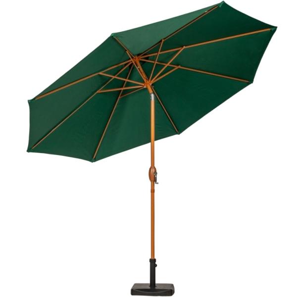 3m Green Wood-Look Crank and Tilt Parasol
