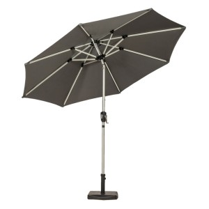 2.7m Grey Crank and Tilt LED Parasol