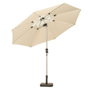 2.7m Ivory Crank and Tilt LED Parasol
