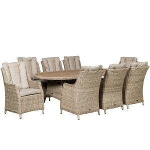 Seychelles 8 Seater Highback Oval Comfort Dining Set