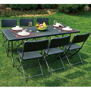 Palermo Rattan 6 Seat Folding Patio Set