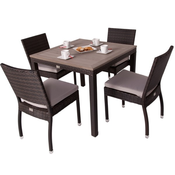 Andreas 4 Seat Square Rattan Dining Set