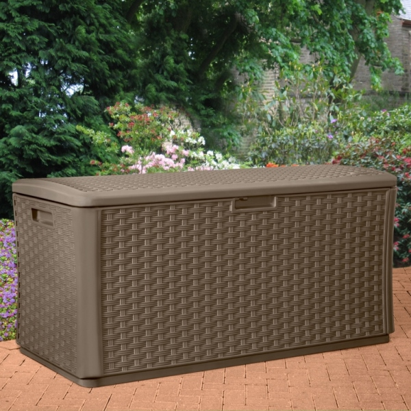 Large Outdoor Plastic Wicker Storage Box