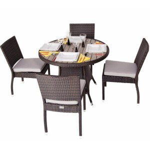 Cassius 4 Seat Round Rattan Patio Set