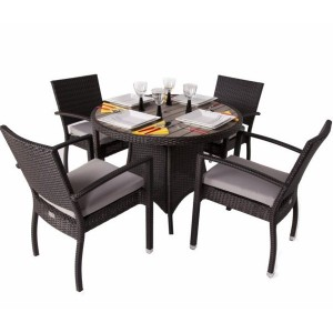 Diego 4 Seat Round Rattan Patio Set