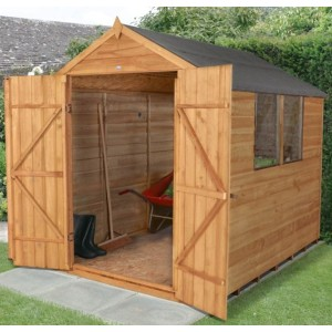 Overlap Dip Treated 6 x 8 Apex Double Door Shed