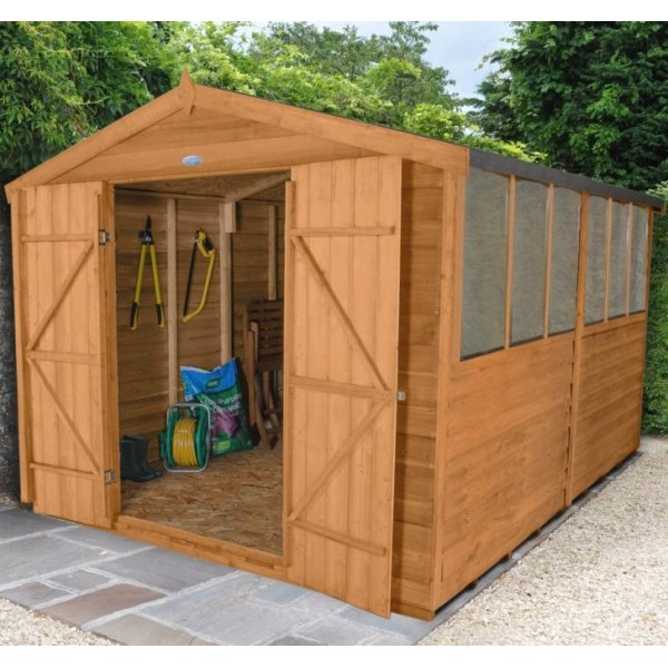Overlap Dip Treated 8 x 12 Apex Double Door Shed
