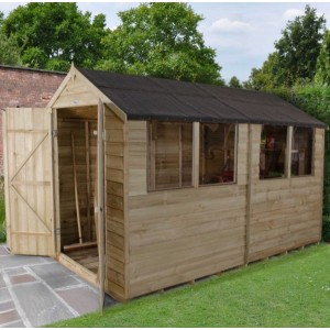 Overlap Pressure Treated 6 x 10 Apex Double Door Shed
