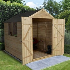 Overlap Pressure Treated 6 x 8 Apex Double Door Shed