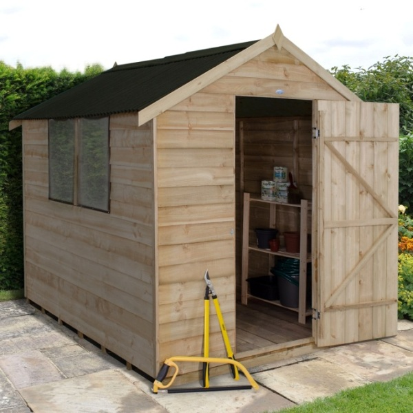 Overlap Pressure Treated 6 x 8 Apex Shed - With Onduline Roof