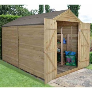Overlap Pressure Treated 8 x 10 Apex Double Door Shed - No Window