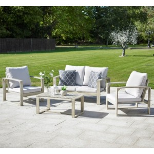 Rochester Hardwood Sofa Set - Light Grey