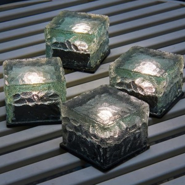 LED Solar Ice Cube Lights - Pack of 4