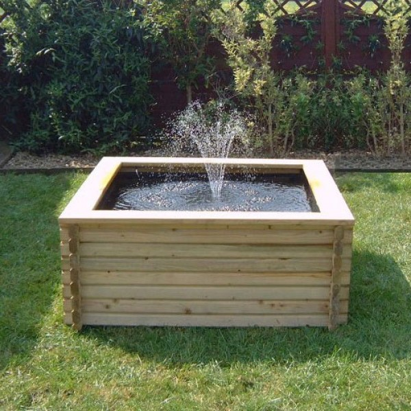 Square raised self contained wooden pond kits for Outdoor fish pond supplies