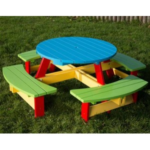 Children's Painted Round Picnic Bench 3-5 Years