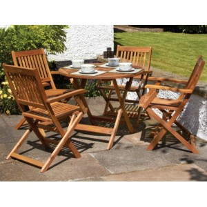 Manhattan Folding Patio Table & 4 Armchairs