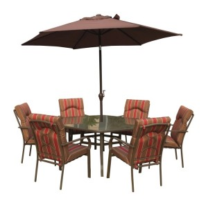 Amalfi Stripe 8pc Hexagonal Dining Set