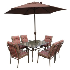 Amalfi Stripe 8pc Rectangular Dining Set
