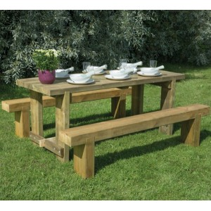 1.8m Refectory Table & Sleeper Bench Set