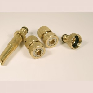 Brass Hose Fittings Set: 4 Piece