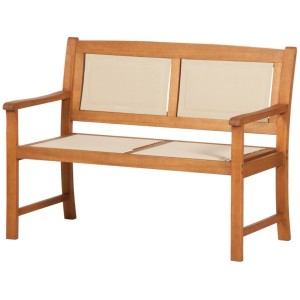 Henley Wooden Padded Textylene Bench (2 Seater)