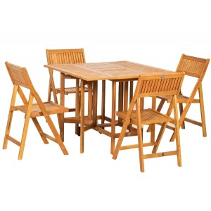 Brooklyn Wooden Folding Table And Chairs Set (5 Piece)