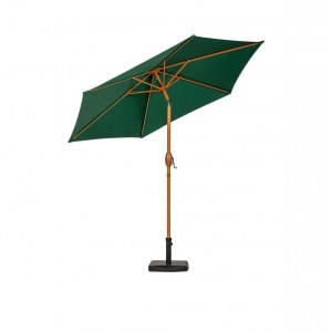 2.5m Green Wood-Look Crank and Tilt Parasol