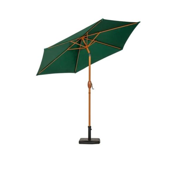 2.5m Green Wood-Look Crank and Tilt Parasol