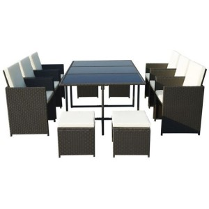 Cannes Rattan 10 Seater Cube Dining Set - Black