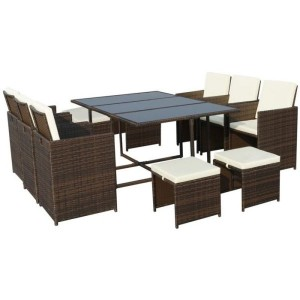 Cannes Rattan 10 Seater Cube Dining Set - Brown