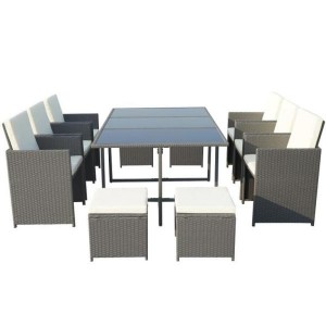 Cannes Rattan 10 Seater Cube Dining Set - Grey