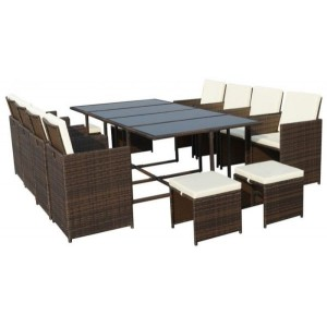 Cannes Rattan 12 Seater Cube Dining Set - Brown