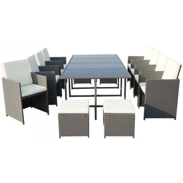 Cannes Rattan 12 Seater Cube Dining Set - Grey