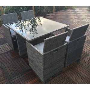Marlow Rattan Cube Dining Set (4 Seater)