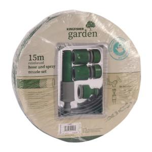 Garden Hose & Spray Nozzle Set (15M)