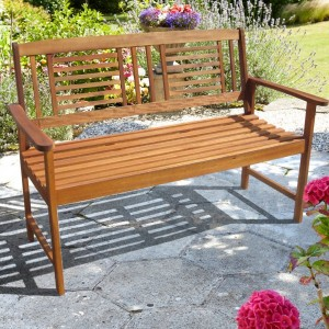 Contemporary 2 Seater Hardwood Bench