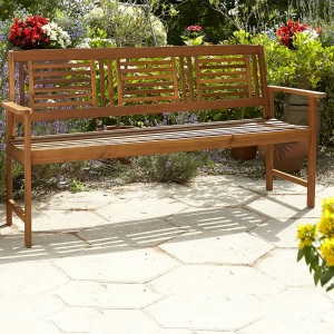 Contemporary 3 Seater Hardwood Bench