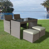 5 Piece Store Away Rattan Dining Set