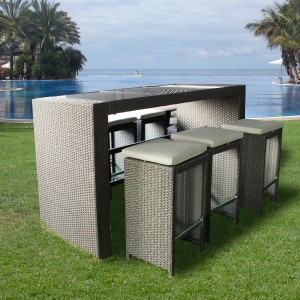 7 Piece Rattan Bar Set