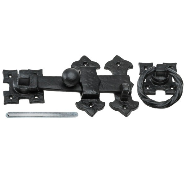 Black Antique Twisted Ring Gate Latch