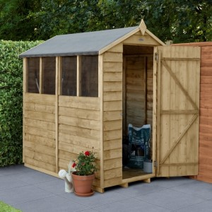 Overlap Pressure Treated 4 x 6 Apex Shed - Four Windows