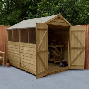 Overlap Pressure Treated 6 x 8 Apex Shed - Four Windows
