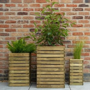 Contemporary Slatted Planter Set